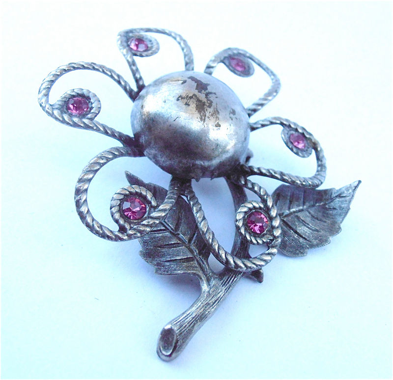 Vintage Purple Brooch Vintage Plum Brooch Purple Flower Brooch Silver Purple Crystal Brooch Lavender Brooch Lilac Brooch Flower Silver Brooc - product images  of