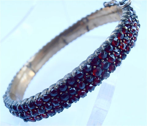 Vintage,Garnet,Bracelet,Antique,Genuine,Czech,Red,Stones,Bangle,Bohemian,Victorian,Rose,Cut,Three,Rows,Multi,vintage czech garnet bracelet, antique garnet bohemian garnet bracelet, victorian garnet bangle, art deco multi row garnet bangle, vintage rose cut garnet stone bracelet, three row garnet bangle, old garnet bracelet, bohemian czech garnet stones bracelet