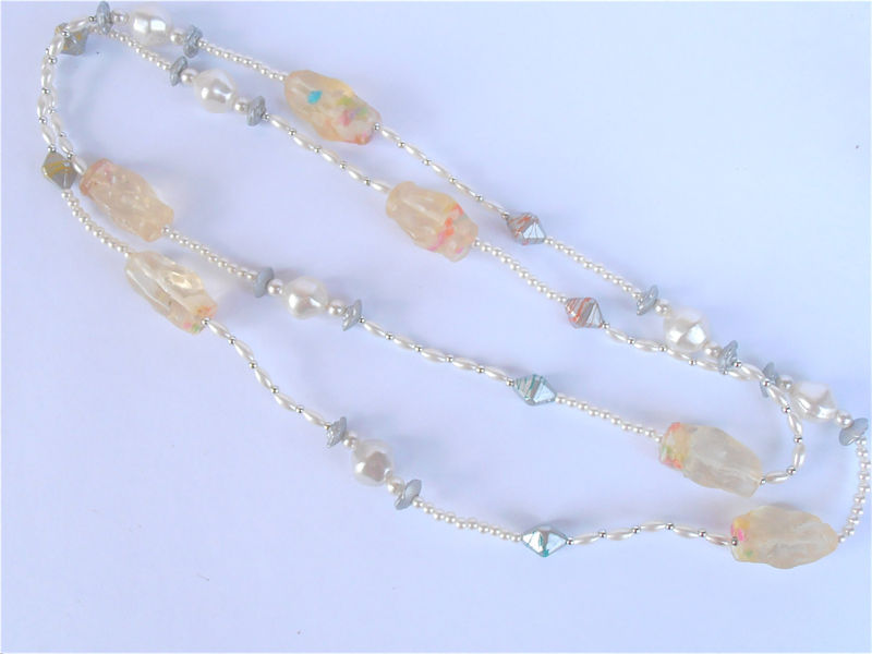 Vintage Pastel Candy Nougat Necklace White Faux Pearl Seed Single Strand Retro Silver Color Flower Floret 48 Inch Extra Long Villacollezione - product images  of