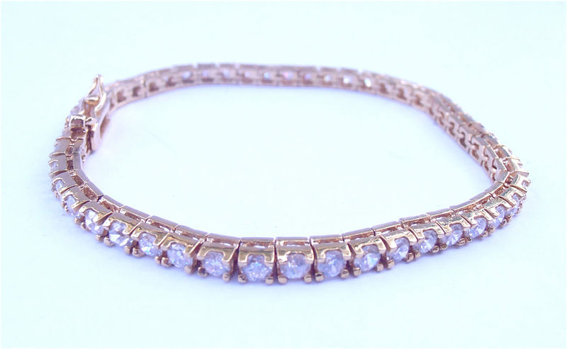 Vintage Faux Diamond Rose Gold Tennis Bracelet Channel Setting 3mm Crystal Round Stones 925 Sterling Silver Single Strand Pink Tone - product images  of