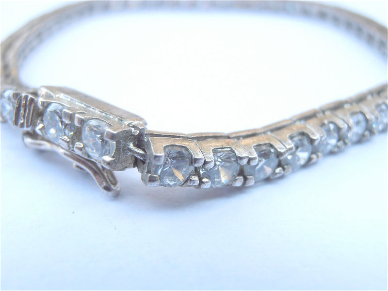 Vintage Imitation Diamond Tennis Bracelet Sterling Silver Single Strand Channel Setting White Crystal Clear Classic Jewelry Villacollezione - product images  of