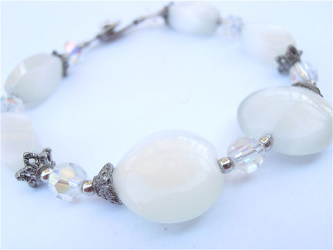 Handmade,White,Cats,Eye,Bracelet,Heart,Shape,Gemstone,Silver,Tone,Star,Caps,Stone,Jewelry,Bride,Bridal,Entourage,Wedding,Maid,of,Honor,handmade cats eye bead bracelet, aurora borealis white bracelet, cats eye heart stone bracelet, white heart beads white crystal bracelet, white heart bracelet, silver tone star cap bracelet, heart white gemstone heart bracelet, villa collezione boutique