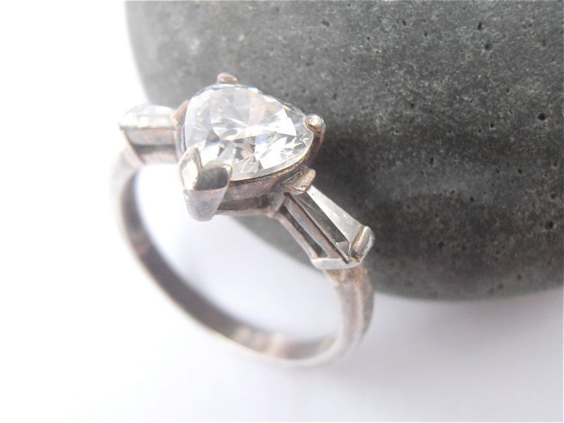 Vintage Heart Faux Diamond Ring Vintage Heart Crystal Ring Vintage Solitaire Diamond Engagement Ring Sterling Silver Ring Ladies Ring Size 6 - product images  of