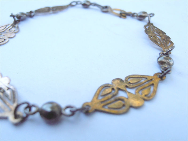 Vintage Filigree Gold Plated Bracelet Gold Filled Ornate Fancy Petite Adult Young Girl Ornamental Jewelry Villacollezione Villa Collezione - product images  of