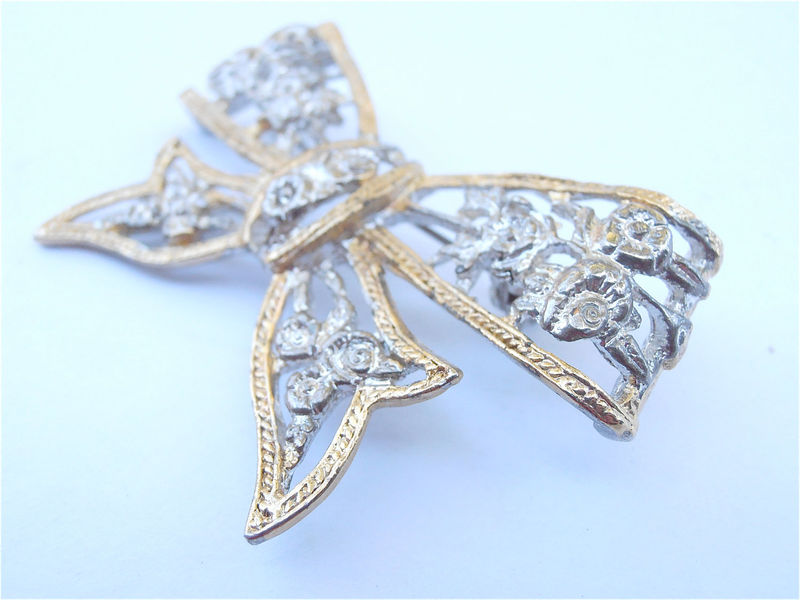 Vintage Rose Flower Silver Tone Brooch Two Gold Trim Ribbon Pin Lace Cut Off Bow Brooch Perforated Filigree Rosette Scarf Hat Beret Lapel - product images  of