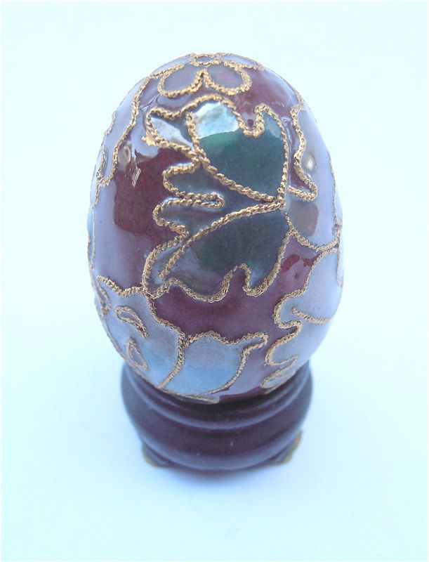 Vintage Miniature Brown Cloisonne Egg Dark Green Enamel Chinese Oriental Asian Mini Floral Figurine Flower Gold Trim Villacollezione - product images  of
