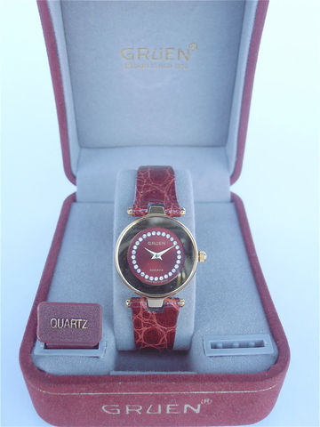 Vintage,Gruen,Watch,Ladies,Fine,Red,Maroon,Wrist,Faux,Diamond,Gold,Face,Oxblood,Leather,Rhinestones,vintage gruen ladies watch, vintage rhinestone ladies watch, red round dial face watch, faux diamond watch, vintage gruen time piece, gruen faux diamonds ladies fine watch, gold red dial face, villacollezione, red ladies watch, gruen fine ladies watch