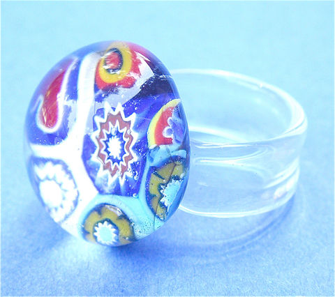 Vintage,Venetian,Ring,Murano,Crystal,Multicolored,Italian,Glass,Modern,Retro,Psychedelic,Dome,Size,9,vintage Italian glass ring size 9, vintage murano crystal ring, vintage murano ring, psychedelic murano glass ring, vintage multicolored dome crystal ring, ladies us ring size 9, vintage venetian glass ladies ring, vintage geometric retro ring