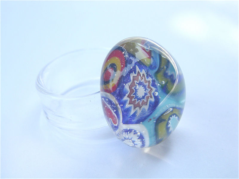 Vintage Venetian Ring Murano Crystal Ring Multicolored Ring Italian Glass Ring Modern Retro Ring Murano Glass Psychedelic Dome Ring Size 9 - product images  of