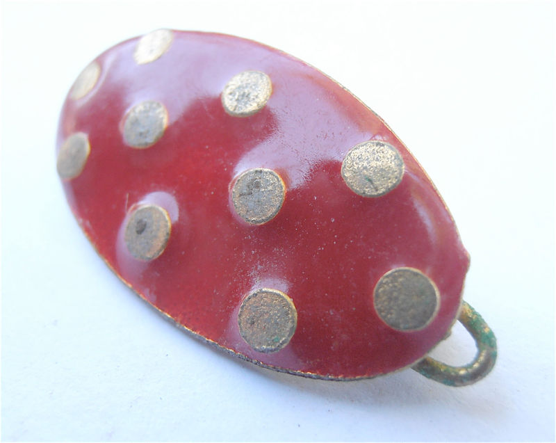 Vintage Red Enamel Oval Barrette Gold Polka Dot Hair Accessory Kawaii Metal Hairclip Paint Metallic Shiny Villacollezione Villa Collezione - product images  of