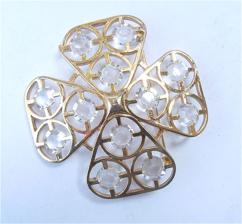 Vintage,Cross,Brooch,Clear,Lucite,Gold,Criss,Four,Leaf,Acrylic,Shamrock,vintage gold tone cross brooch, four leaf clover gold brooch, irish shamrock acrylic pin, vintage shamrock brooch, vintage clear lucite leaf brooch, four leaf brooch, vintage acrylic brooch, mad men brooch, vintage cross gold tone brooch, villacollezione