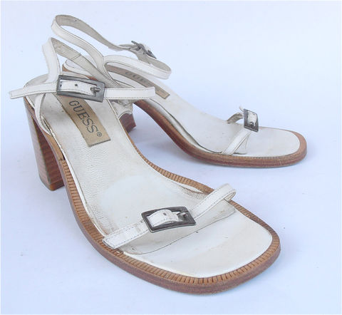 Vintage,White,Sandals,Strap,High,Heel,Guess,Shoes,Designer,Retro,Leather,vintage, white leather sandals, white strappy sandlate, vintage guess wood sandals, vintage white strap shoes, vintage guess wood stack heels, vintage guess white leather shoes, vintage guess white shoes, vintage guess white high heels, white guess design