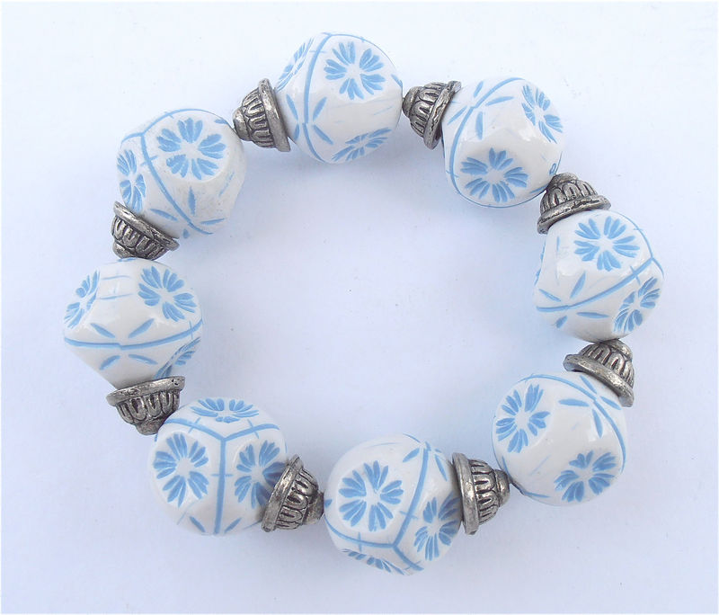 Vintage Blue White Snowflake Bracelet Light Texture Bracelet Chunky 19MM Bead Large Bead Elastic Stretch OOAK One Of A Kind Costume Jewelry - product images  of