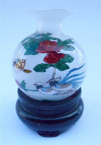 Vintage,Chinese,Painted,Miniature,Vase,Frosted,Jar,Exotic,Birds,Red,Yellow,Flowers,Asian,Mini,Glass,Frost,Bottle,Ruffled,Lip,Rim,Floral,vintage chinese painted glass frosted vase, vintage chinese frosted painted jar, vintage chinese red yellpow flowers mini vase, vintage chinese exotic birds miniature jar, chinese painted jar, chinese painted vase, asian frosted glass with wooden stand