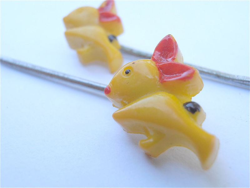 Vintage Yellow Rabbit Hairclips Bunny Hairpins Red Ear Hair Pin Black Bushy Tail Yellow Bunneh Barrette Metal Clips Plastic Villacollezione  - product images  of