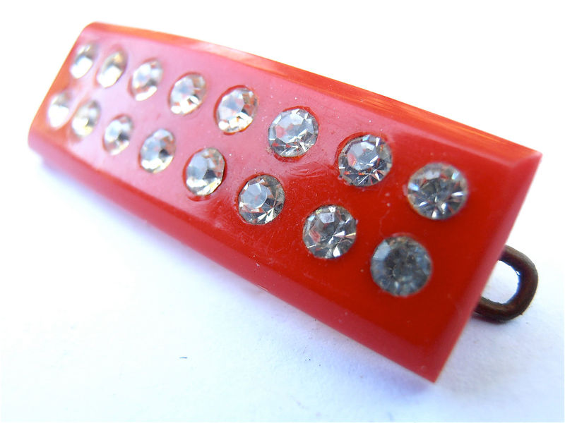 Vintage Red Rhinestone Barrette Kawaii Studded Cute Japanese Hair Clip Acrylic Hard Plastic Accessory Adornment Collectible Villacollezione  - product images  of