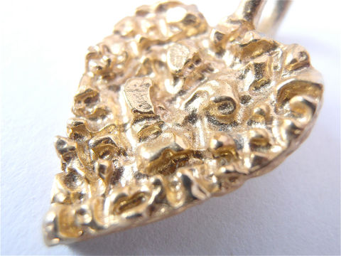 Vintage,Gold,Heart,Pendant,Shape,Nugget,Faux,Charm,vintage gold heart pendant, vintage heart shape pendant, vintage heart gold nugget, faux gold heart nugget, vintage gold heart charm, villa collezione, vintage golden heart charm, vintage golden heart pendant, texturted heart shape pendant necklace