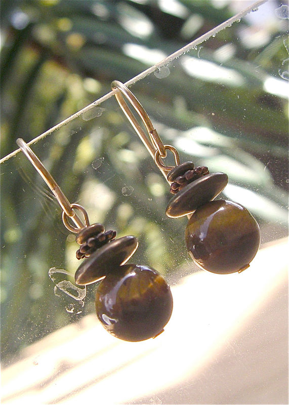 Vintage Tigers Eye Honey Gold Earrings Golden Ball Stone Dangling Bead Dangle Brown African Round Smooth Villacollezione Villa Collezione - product images  of