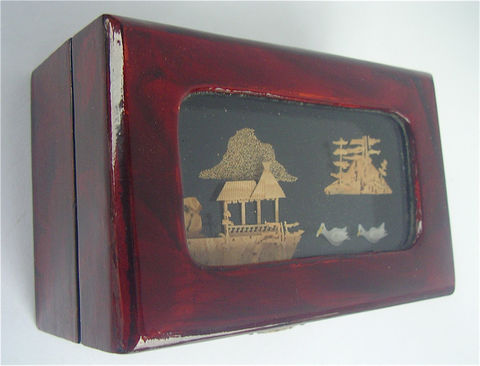 Vintage,Carved,Cork,Art,Box,Glass,Shadow,Burgundy,Faux,Lacquer,Case,Mahogany,Cherry,Wood,Container,Diorama,Keepsake,Chinese,Décor,Oriental,vintage chinese carved cork art box, vintage asian carved cork, vintage dark wood box, vintage faux cherry wood box, asian nature scenery chinese cork art, vintage faux mahogany wood carved cork box, cork glass shadow box, faux lacquer maroon box