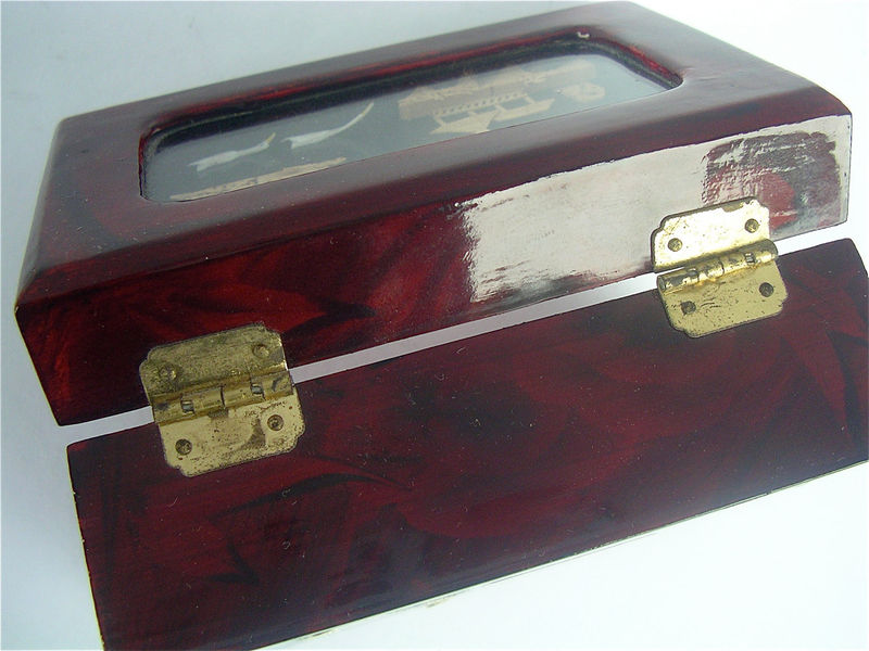 Vintage Carved Cork Art Box Glass Shadow Burgundy Faux Lacquer Case Mahogany Cherry Wood Container Diorama Keepsake Chinese Décor Oriental - product images  of