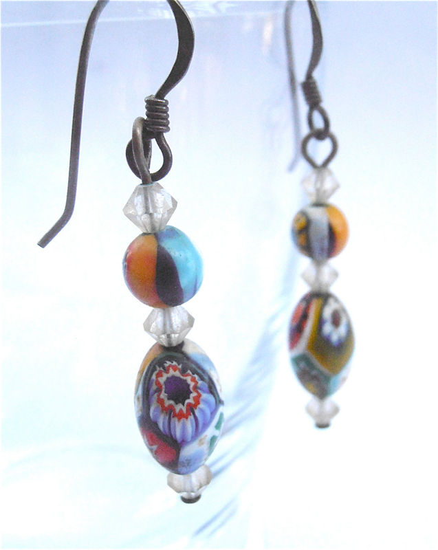 Vintage Psychedelic Earrings Multicolored Rainbow Crystals Dangle Harlequin Pattern Glass Dangling Costume Jewelry Villacollezione - product images  of