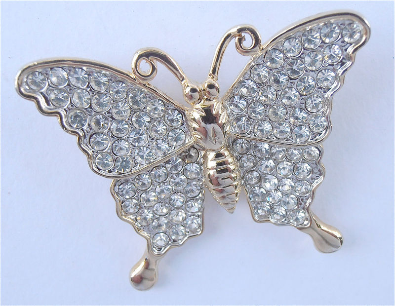 Vintage Butterfly Brooch Butterfly Rhinestone Brooch Butterfly Bling Brooch Rhinestone Studded Brooch Gold Butterfly Brooch Butterfly Pin - product images  of