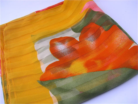 Vintage,Orange,Scarf,Yellow,Flower,Bold,Color,Floral,Leafy,Green,Vibrant,Italian,vintage orange flower scarf, vintage yellow scarf, vintage gold color scarf, vintage floral yellow scarf, green leafy scarf, vintage gold italian scarf, villacollezione, villa collezione, orange gold bold multicolored scarf, large floral print scarf