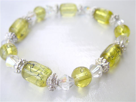 Handmade,Lemon,Yellow,Bracelet,Beads,Elastic,Painted,Glass,Chartreuse,Crystal,One,Of,A,Kind,OOAK,Aurora,Borealis,handmade lemon yellow crystal eleastic bracelet, yellow bead stretch bracelet, yellow pear bead ooak bracelet, handmade chartreuse tube glass bracelet, bicone aurora borealist accent bracelet villa collezione, yellow painted bead bracelet, black splash