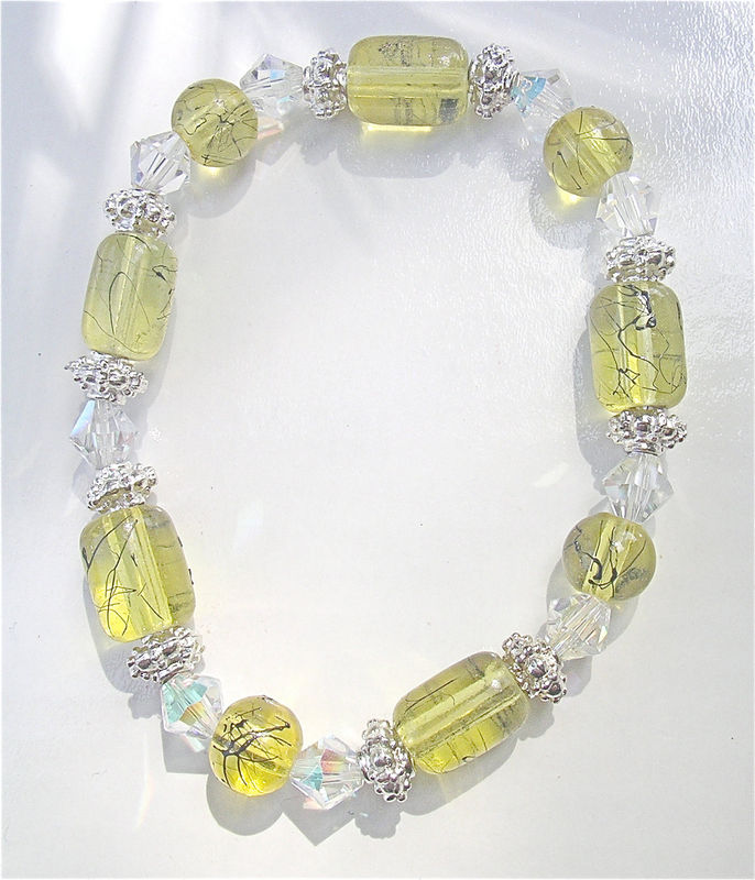 Handmade Lemon Yellow Bracelet Beads Elastic Painted Glass Bracelet Chartreuse Crystal Bracelet One Of A Kind OOAK Bracelet Aurora Borealis - product images  of