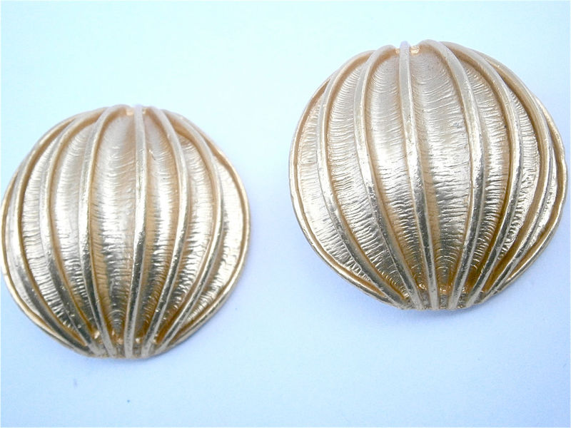 Vintage Gold Earrings Gold Dome Earrings Gold Ridge Clip Ons Round Clip Ons Oversized Round Earrings Gold Satin Earrings Textured Gold Tone - product images  of