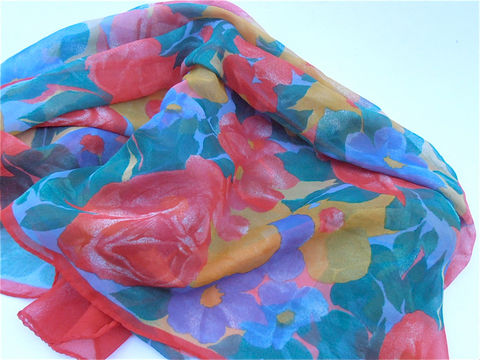 Vintage,Multicolored,Floral,Chiffon,Scarf,Red,Rectangular,Yellow,Green,Flowers,Soft,Fabric,Spring,Rectangle,Villacollezione,vintage multicolored soft fabric scarf, vintage yellow chiffon scarf, vintage orange flower scarf, vintage red floral scarf, vintage flower rectangular scarf, vintage green scarf, vintage orange yellow red green floral colored scarf, villacollezione