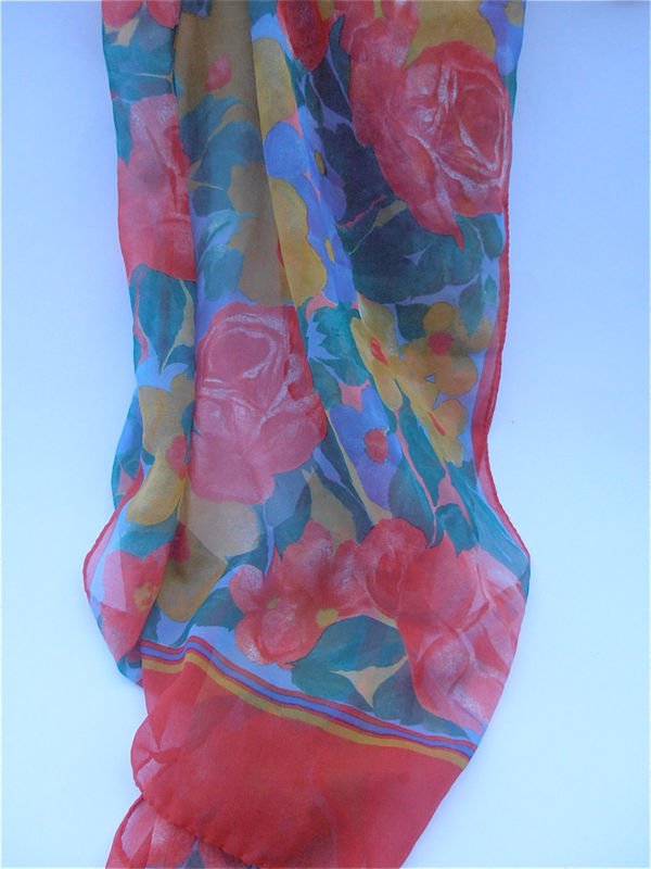 Vintage Multicolored Floral Chiffon Scarf Red Rectangular Yellow Green Scarf Yellow Flowers Soft Fabric Spring Rectangle Villacollezione - product images  of