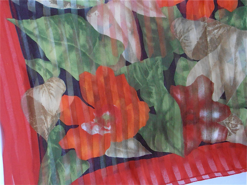 Vintage Red Scarf Vintage Green Scarf Vintage Flower Scarf Bold Color Scarf Vintage Floral Scarf Leafy Green Scarf Vibrant Italian Scarf - product images  of