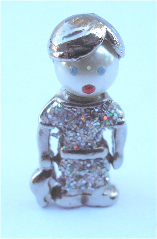 Vintage Boy Girl Glitter Brooch Kawaii Pin Kid Silver Child Silver Tone Pin Confett Car Blanket Villacollezione - product images  of