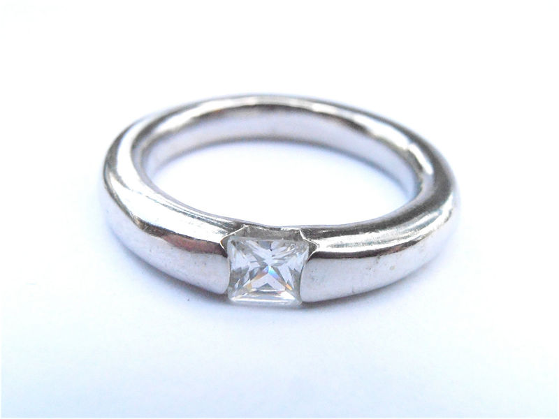 Vintage Square CZ Cubic Zirconia Silver Tone Pinky Thumb Ring Faux Diamond Engagement Solitaire Imitation Diamond Mens Ladies Ring US Size 8 - product images  of