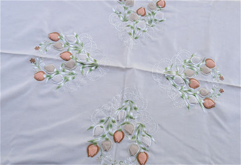 Vintage,Floral,Embroidered,Linen,Tablecloth,Beige,Peach,Table,Cloth,Flower,Embroidery,vintage floral peach embroidered linen beige tablecloth, vintage beige peach green embroidered oval table cloth, vintage coral flower embroidered linen cloth, vintage peach coral ramie 70 inch x 72 inch tablecloth, vintage embroidered oval tablecloth