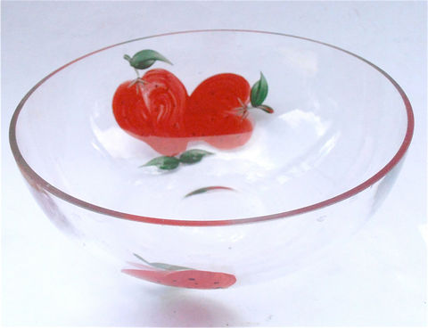 Vintage,Strawberry,Glass,Clear,Bowl,Cereal,Candy,Nut,Chocolate,Deep,Dish,Red,Berry,Serving,Decorative,Paint,Fruit,Summer,Kitchen,Kawaii,Soup,vintage strawberry glass painted bowl, vintage strawberry deep dish bowl, vintage strawberry clear bowl, painted strawberry cereal bowl, red fruit strawberry, red strawberries soup bowl, berry red decorative bowl, kawaii red bowl, candy nut dish