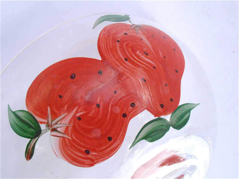 Vintage Strawberry Glass Clear Bowl Cereal Candy Nut Chocolate Deep Dish Red Berry Serving Decorative Paint Fruit Summer Kitchen Kawaii Soup - product images  of