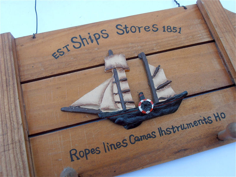 Vintage Boat Wood Key Holder Wall Hang Nautical Wooden Slats Boat Key Holder Ship Key Holder Wall Décor Wall Hang Sailboat Wall Plaque - product images  of