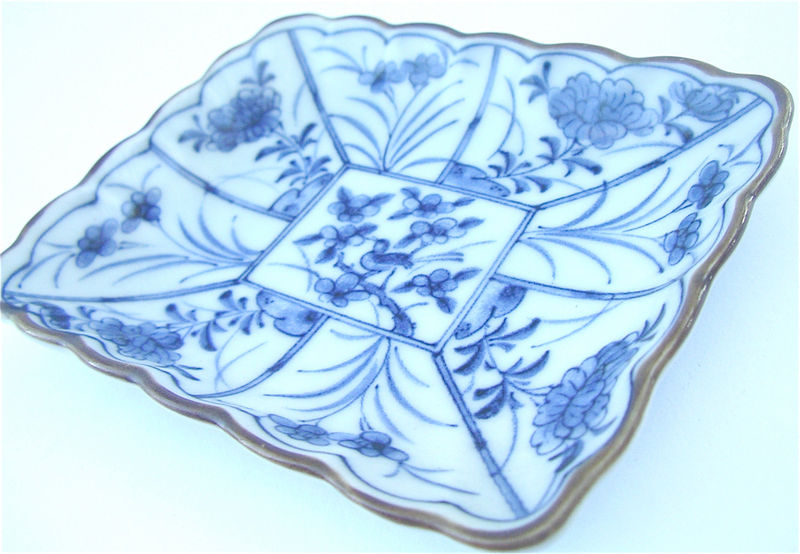 Vintage Blue White Japanese Ceramic Rectangle Indigo Floral Saucer Mini Tray Asian Oriental Pottery Tiny Plate Brown Scallop Glaze Catchall Miniature Dish Villacollezione - product images  of