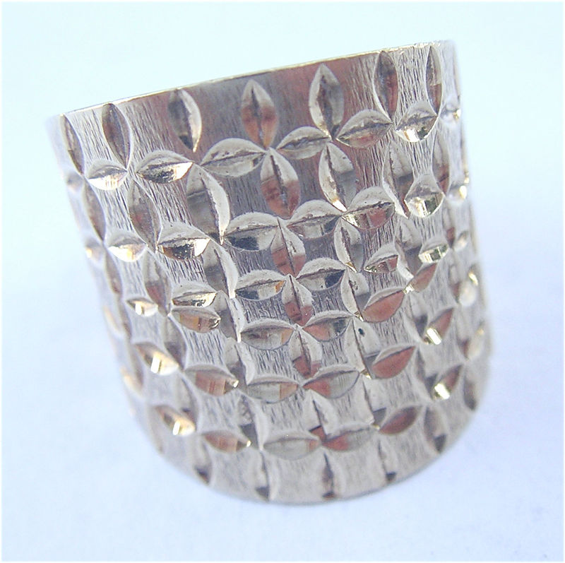 Vintage Cigar 14K Gold Ring Genuine Ring Size 7 Extra Wide Band Etched Textured Authentic Tapered Handmade Villacollezione Villa Collezione - product images  of