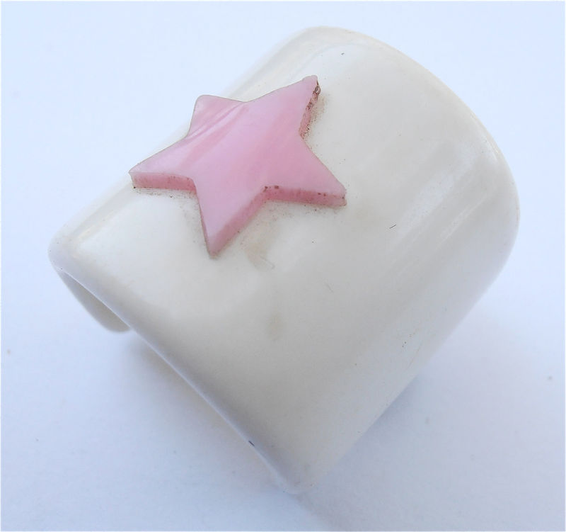Vintage Pink Star White Ponytail Holder Hair Accessory Acrylic Japanese Kawaii Japan Barrette Villacollezione Villa Collezione - product images  of