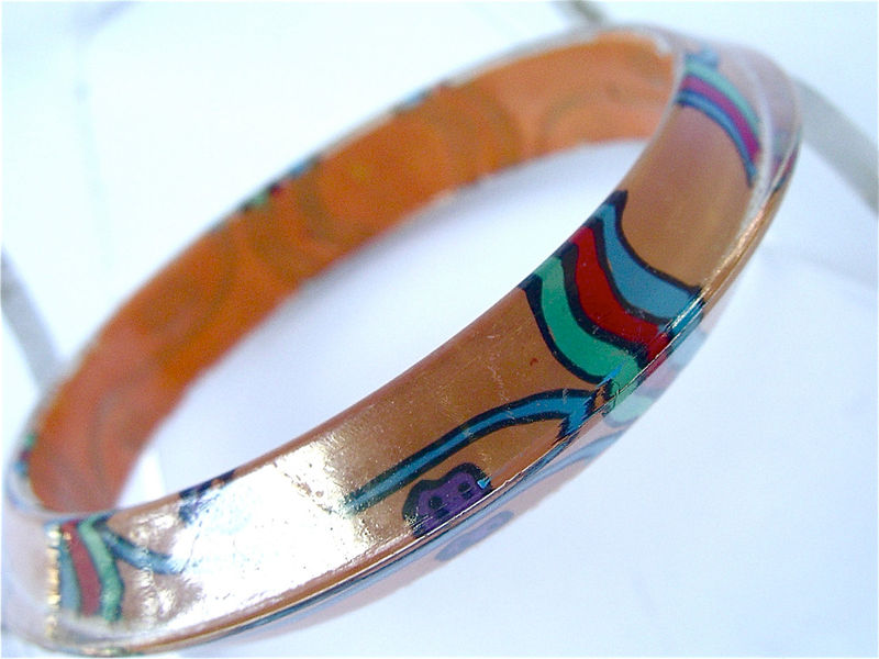 Vintage Peach Orange Retro Bangle Coral Op Art Psychedelic Bangle Acrylic Hard Plastic Go Go Abstract Design Costume Jewelry Villacollezione - product images  of
