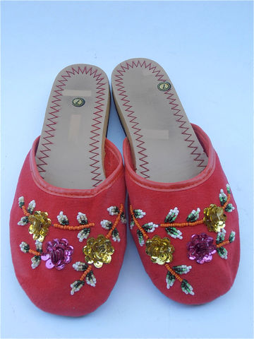 Vintage,Red,Slippers,Chinese,Flower,Sequined,Cotton,Vtg,Bead,Shoes,Ladies,Shoe,Size,7,vintage red chinese slippers, vintage red chinese velvet slippers, vintage sequined flower slippers, vintage beaded red shoes, ladies slipper size 7, vintage red velvet chinese shoes, villacollezione, red beaded sandals, flower sequined slipper, velveteen