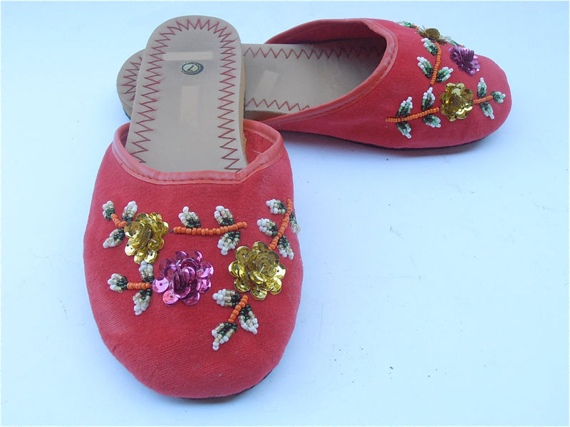Vintage Red Slippers Vintage Red Chinese Slippers Vintage Flower Sequined Slippers Red Cotton Slippers Vtg Bead Red Shoes Ladies Shoe Size 7 - product images  of