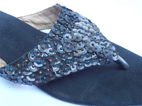 Vintage,Black,Sequined,Slippers,Sandals,Beaded,Ladies,Shoe,Size,7.5,38,vintage black sequined slippers, vintage sequined black sandals slip on, sequin black slippers, vintage black beaded slippers, ladies shoe size 75, vintage black faux suede slippers, black pointy slippers, black artsy sandals, villacollezione