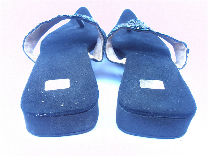 Vintage Black Sequined Slippers Vintage Sequined Black Sandals Sequined Black Slippers Black Beaded Slippers Ladies Shoe Size 7.5 Size 38 - product images  of