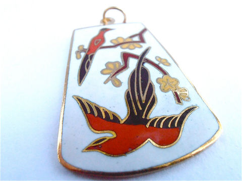 Vintage,White,Cloisonne,Pendant,Black,Bird,Red,Flower,Floral,Vtg,Enamel,Necklace,Gold,Tone,Cloissone,vintage red white cloisonne pendant, vintage white enamel pendant, vintage bird flower cloisonné pendant, black red bird floral pendant, vintage flower enamel pendant, gold tone cloissone pendant, vintage bird enamel pendant, white cloissonné pendant