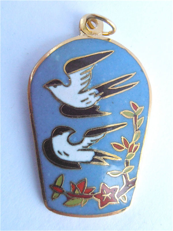 Vintage Blue Cloisonne Pendant Black Bird Red Flower Floral Pendant Vtg Blue Enamel Necklace Vintage Bird Enamel Gold Tone Cloissone Pendant - product images  of