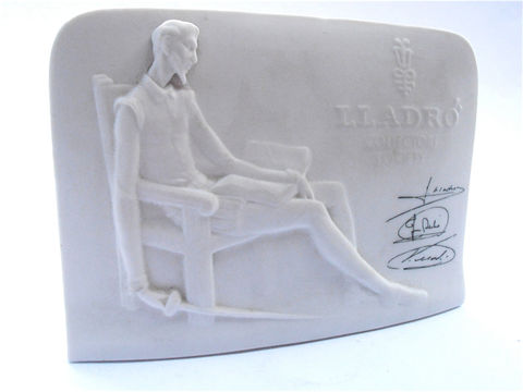 Vintage,Lladro,Collectors,Society,Signed,Plaque,Retired,Don,Quixote,Bas,Relief,Porcelain,Figurine,Juan,Jose,Vincente,White,Pottery,Sculpture,vintage lladro figurine, vintage lladro member collectors society plaque, signed lladro brothers plaque, vintage retired collectible lladro piece, vintage llado don quixote plaque shell, lladro bas relief figurine, lladro white porcelain pottery figurine